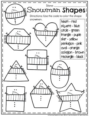 Snowman Shapes and Colors Worksheet for Winter.
