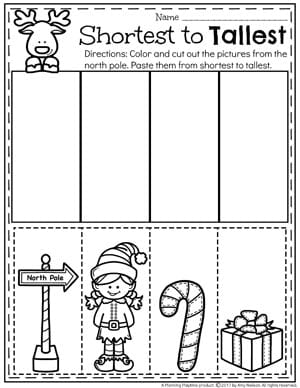 Sort by Size Worksheet for Preschool - Christmas Preschool Unit