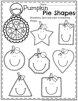 Spin and Color Shapes Worksheets for Fall - Thanksgiving Preschool Worksheets.