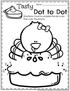Thanksgiving Pie Dot to Dot Preschool Worksheets for November.