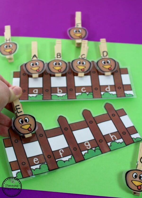 Turkey Alphabet Math - Preschool Thanksgiving Unit Centers.