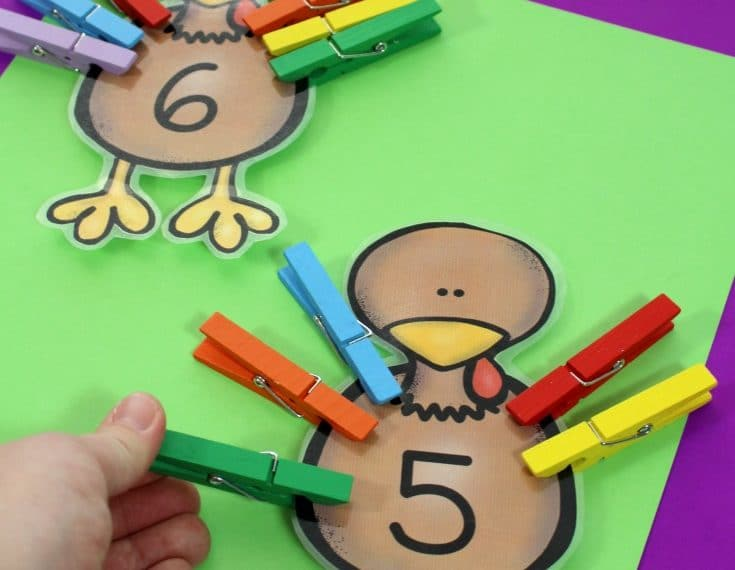 Turkey Counting Activity - Preschool Thanksgiving Unit Centers