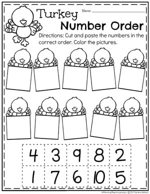 Turkey Number Order - Thanksgiving Worksheets for Preschool