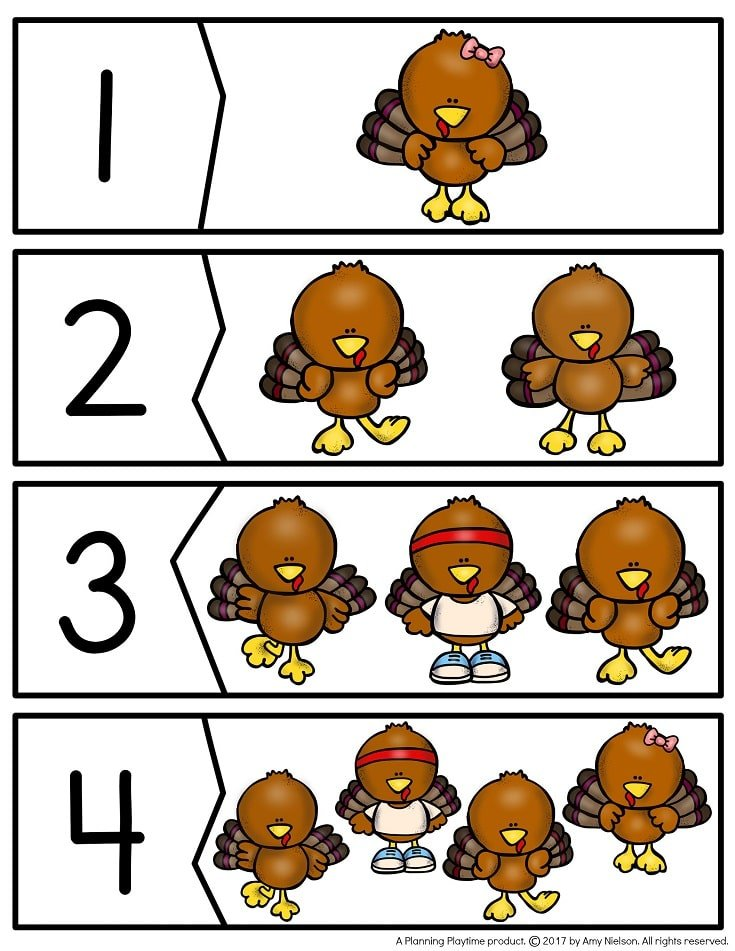 Turkey Number Puzzles and other fun Thanksgiving theme unit activities.