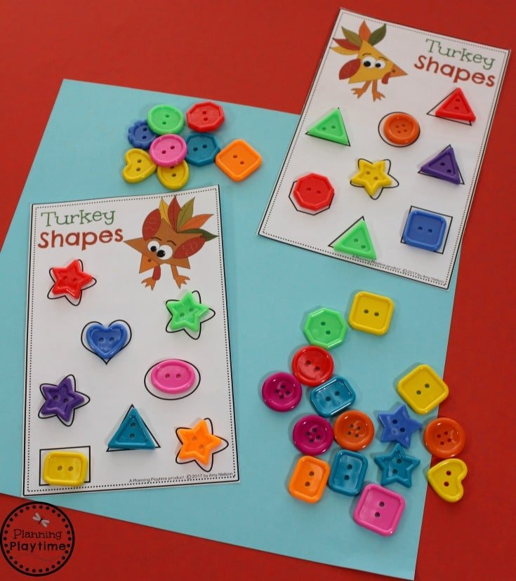 Turkey Shapes Matching Center for Preschool - November Preschool Centers.