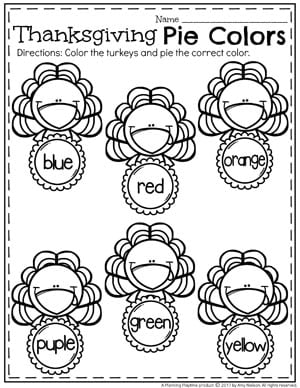 Turkey Worksheets for Preschool - Thanksgiving Pie Colors