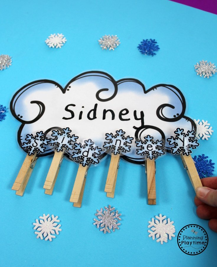 Winter Name Spelling Practice for Preschool