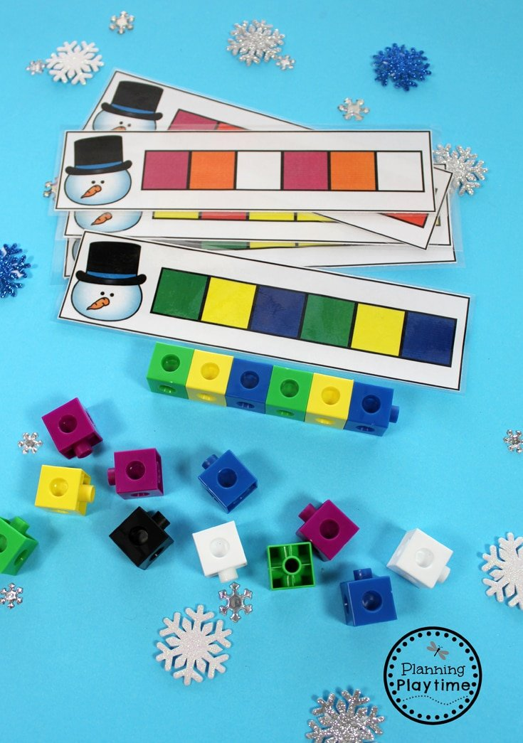 Winter Pattern Cards for Preschool