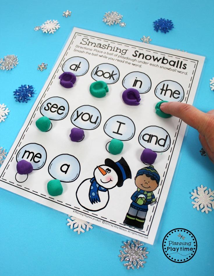 Winter Sight Words Activity for Preschool - Smash the Snowballs.