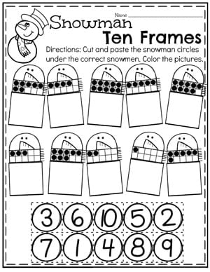 Winter Snowman 10 Frames Worksheets for Preschool