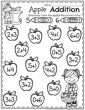 addition worksheets  planning playtime apple addition worksheets for kindergarten