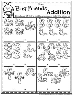 addition worksheets  planning playtime bug friends addition worksheets for kindergarten