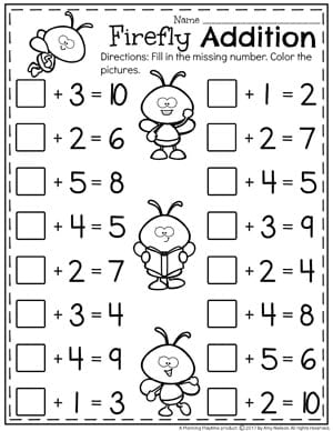 addition worksheets  planning playtime ii cute firefly addition worksheets for kindergarten  fill in the missing  addend
