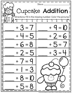 Fill in the missing Number Addition Worksheet for Kindergarten.