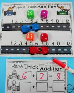 Fun Addition Game for Kindergarten - Race Car Addition.