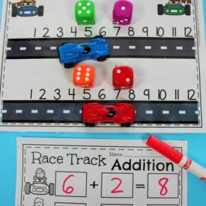 Fun Addition Game for Kindergarten - Race Car Addition.