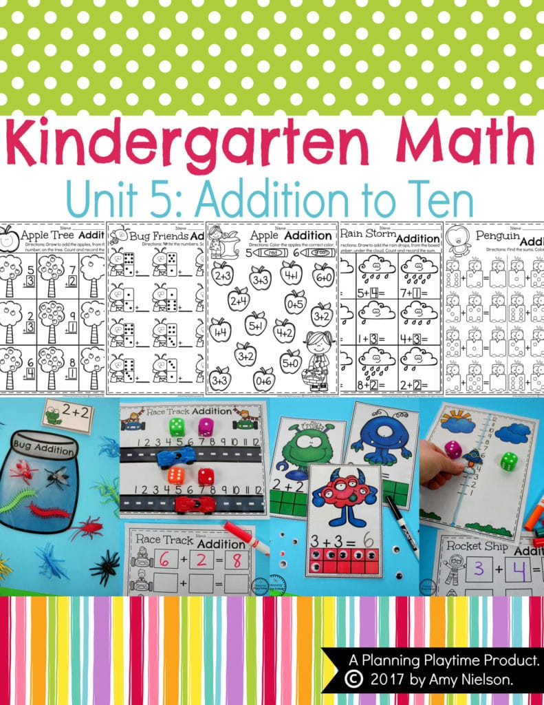 Kindergarten Addition Worksheets and Centers for Math