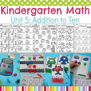 Addition Worksheets and Centers for Kindergarten