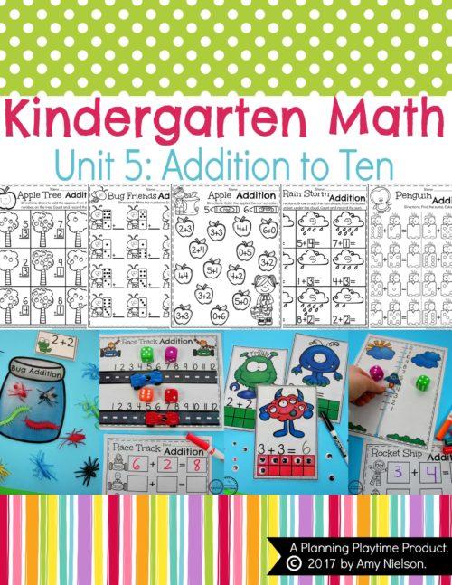 Addition Worksheets and Centers for Kindergarten