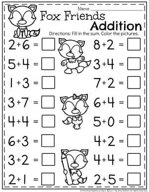 Addition Worksheets  Planning Playtime Kindergarten Addition Worksheets  Math Units For Kindergarten
