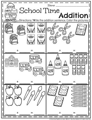 Addition Worksheets Planning Playtime 1st Addition Worksheets Kindergarten Addition Worksheets School Time Math Activities
