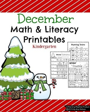 Kindergarten Christmas Worksheets - Math and Literacy