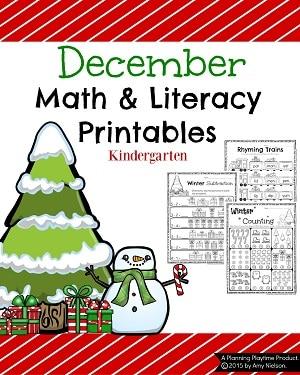 Kindergarten Christmas Worksheets - Math and Literacy