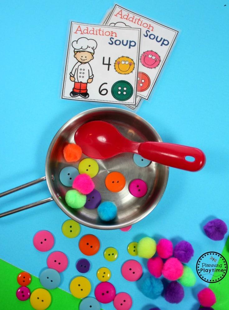 Kindergarten Math Addition Activity for kids - Addition Soup.