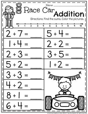 Kindergarten Math Worksheets - Race Car Addition II
