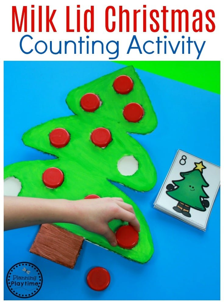 Milk Lid Christmas Counting Activity for Kids. So fun!