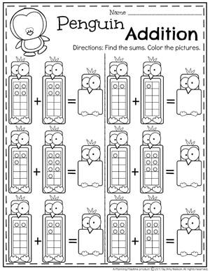 Penguin 10 Frame Addition Workshseets for Kindergarten. II
