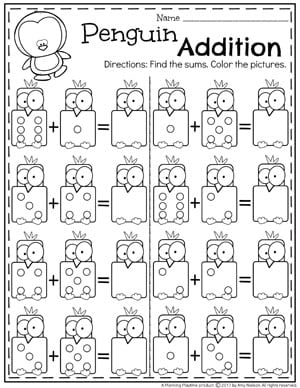 Addition Worksheets  Planning Playtime Ii Penguin Addition Worksheets For Kindergarten Math