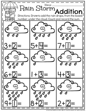 ii rain storm addition worksheet for kindergarten - Addition Worksheet
