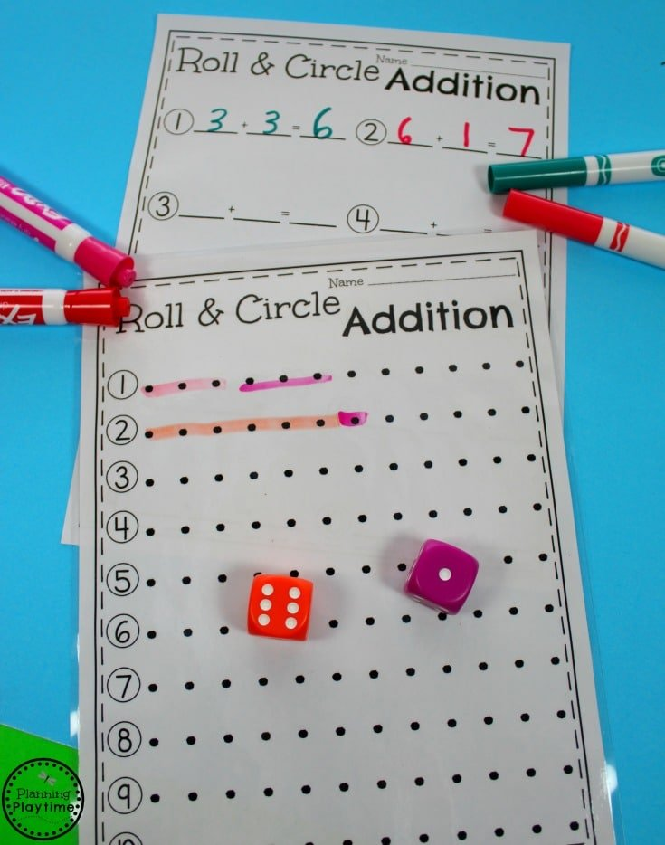 Roll and Circle Addition Center for Kindergarten.