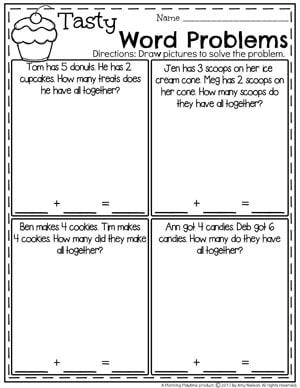 Sweet Treats Addition Word Problems for Kindergarten.