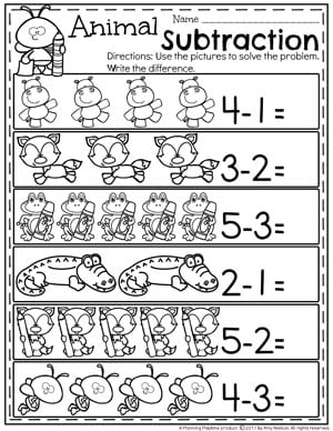 Animal Subtraction Under 5 for Kindergarten.