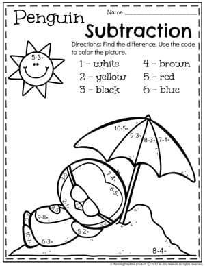 Color By Difference - Subtraction Worksheets for Kindergarten.