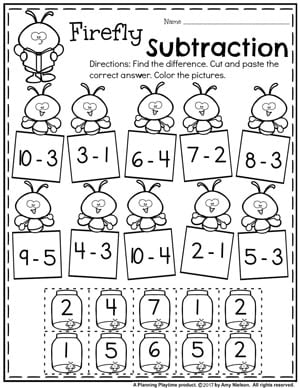 Cut and Paste Subtraction Worksheets for Kindergarten.