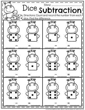 Dice Subtraction Worksheets for Kindergarten and other Math Worksheets.