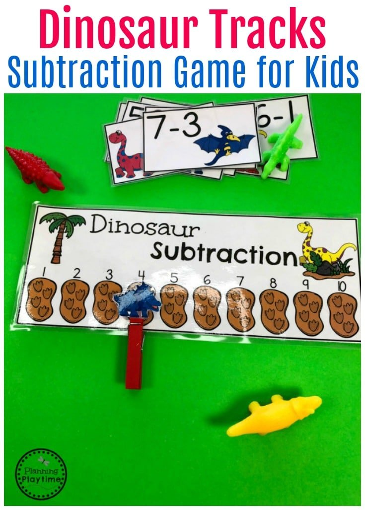 Dinosaur Tracks Subtraction Game for Kindergarten.
