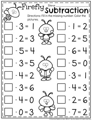 Fill in the Missing Number Subtraction - Kindergarten Math Worksheets.