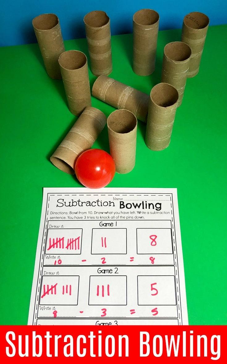 Fun Bowling Subtraction Game - Fun Math ideas for Kindergarten.