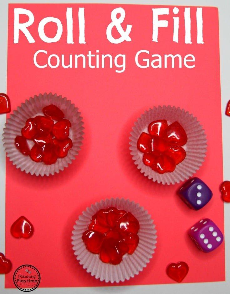 Fun Counting Game for Preschool. #preschool #valentines #preschoolworksheets