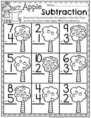 Fun Subtraction Worksheets for Kindergarten.