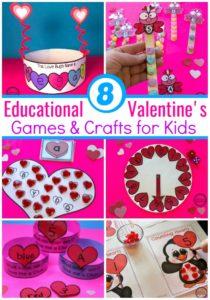 Fun Valentine's Games and Crafts for Preschool or Kindergarten. #kidsgames #valentinesday #preschool #kindergarten