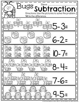 Kindergarten Math Worksheets - Bug Subtraction Under 10