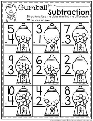 Kindergarten Math Worksheets - Subtraction Under 10.