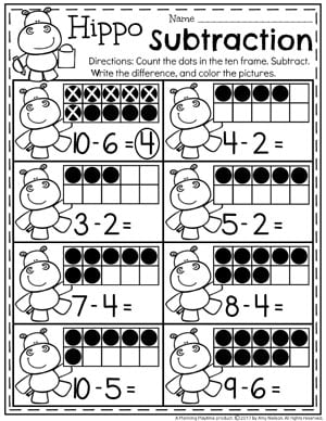 Kindergarten Subtraction Worksheets - Fun Math Centers for Kindergarten.