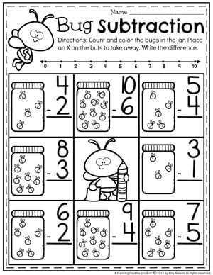 Lots of fun Subtraction Worksheets for Kindergarten.
