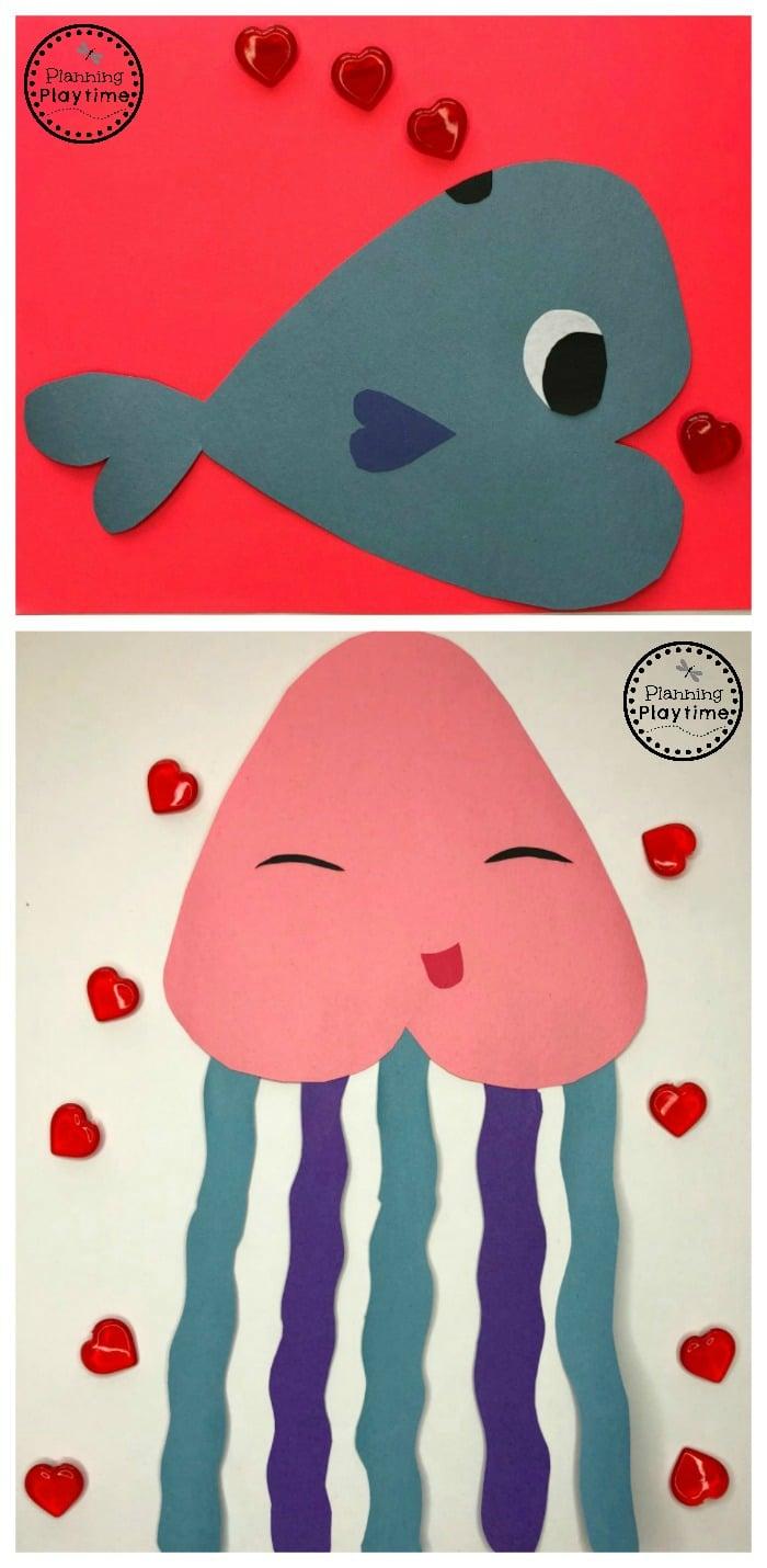 Ocean Themed Heart Animals - Valentines Crafts for Preschool
